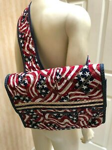 Vintage American Flag Bag Purse Tote Shoulder Bag 4th of July Holiday.