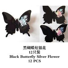 3D FARFALLA ART DECOR IN PVC FARFALLE Murale Wall Stickers 12 PZ BLACK & SILVER