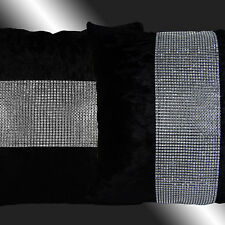 """2X SHINNY BLING SILVER BLACK THICK VELVET THROW PILLOW CASES CUSHION COVERS 17"""""""