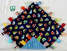 Double Minky! Minky Cars & Blue Minky, Tag Taggie Security Blanket, Baby Toddler
