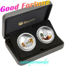 Australia Lunar Good Fortune 2015 Year of the Goat 1oz Silver Proof Two-Coin Set