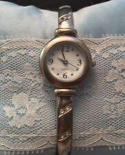 Vintage Ladies Fashionable Quartz Watch Rhinestone Studded Silver Band