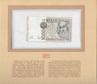Most Treasured Banknotes Italy 1000 Lire 1982 UNC P-109a Prefix QA