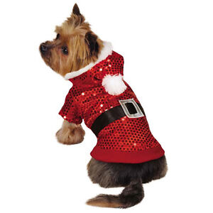 Zack & Zoey Santa Claus Sequin Dog Hoodies Hoodie Pet Christmas Xmas Red Outfit