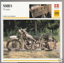 1951 Nimbus 750cc Armee (746cc) Denmark Army Military Motorcycle Photo Info Card