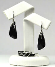 925 Silver Earrings/Set made with Swarovski Crystals 23mm WING - JET