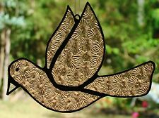 CHAMPAGNE PINK PEACE DOVE Translucent Stained Glass SUNCATCHER Hand Crafted Gift