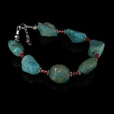 Sterling Silver Chunky Turquoise Nugget Coral Bracelet