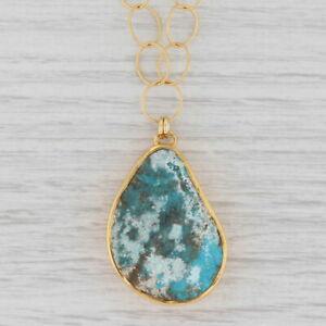 "New Nina Nguyen Turquoise Pendant Necklace 20"" Sterling 22k Gold Vermeil"