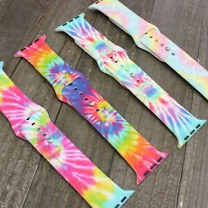 Tie Dye Apple Watch Pattern Animal Print Silicone Bands Gift 38mm 40mm 42mm 44mm