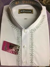 Shalwar Kameez Mens Al-Qaiser Light Embroiderey White, Sizes XL, L, M, S, XS