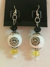 PITTSBURGH PENGUINS  EARRINGS GLASS BEAD HOCKEY JEWELRY NHL COLLECTIBLE LOGO