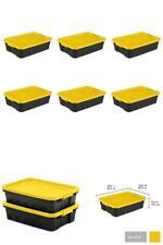 Storage Container Stacker Box Yellow Black 6 Pack Totes 10 Gal Organizer Bin