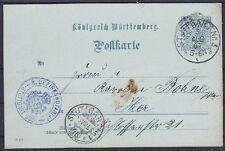 Württemberg Dienst DP 13 Ganzsache,, gel. in Stuttgart mit Briefträger St. 46