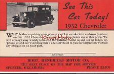 Postcard See This Car Today 1932 Chevrolet Robt Hendricks Motor Co Spencer OK