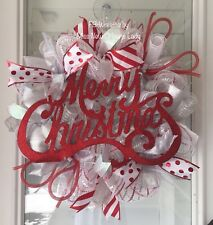 MERRY CHRISTMAS WREATH, HOLIDAY WREATH, RED, WHITE AND SILVER, DECO MESH