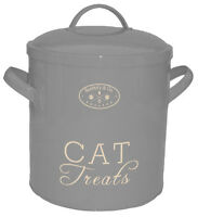 BANBURY & CO Luxury Grey Food /Treat Storage Tin for Cats complete with Lid