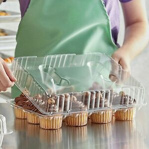 100 Pack 12-Cup BPA Free Hinged OPS Plastic Cupcake Muffin Container Tray