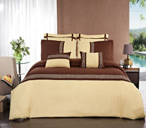 Astrid Gold/Chocolate 7 PC Embroidered Microfiber Duvet Sets