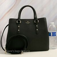 NWT Kate Spade Larchmont Avenue Evangelie Satchel Pebbled Black Leather $379