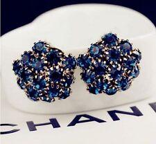 Korea Dandelion Flower Shade Blue Swarovski Element Crystal Stud Earring box P14
