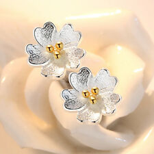 925 Silver Small Gold Flower Ear Stud Earrings Women Girl Fashion Jewelry