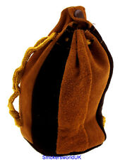Mysmokingshop Brown and Tan Velour Leather Drawstring Pipe Tobacco Pouch Bag