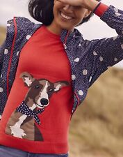 Joules Womens Miranda Knitted Intarsia Crew Neck Jumper - Red Dog