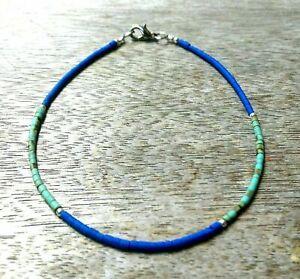 Lapis Lazuli, Turquoise Tiny Seed Tube Heishi Beads Anklet Ankle Bracelet Gypsy