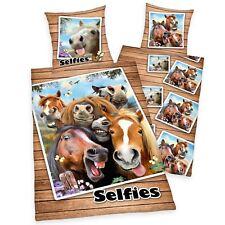 cheval Selfies Set Housse de couette simple 100% coton réversible enfants filles