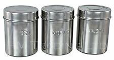 3Pc Stainless Steel Canister Jars Tea Sugar Coffee Kitchen Storage Pot Lids 10cm
