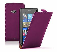 Microsoft Nokia Lumia 535 MAGENTA Leather Flip Case Cover Pouch Mobile Phone