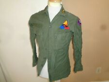 60s Small VTG US Army green military Sateen OG 107 Utility uniform Shirt patches