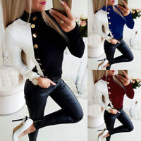 Womens Shirt Tops Slim Fit Long Casual Sleeve Turtleneck Ladies T Buttons Blouse