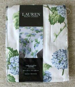 LRL Ralph Lauren Oblong/Rectangle Tablecloth Hydrangea White Green 60 x 120 NIP