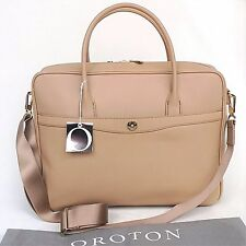 RRP$695 NEW OROTON Melanie Tote Briefcase Work Bag Handbag Leather Mink Nude