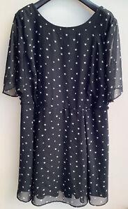 "Star Tea Dress Black White 16 New Look Vgc Bell Sleeves Lined Knee L35"" Back Zip"