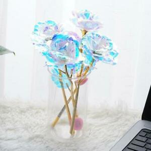 LED Galaxy Rose Flower Gold Foil Rose Valentine's Day Gift Romantic Crysta R5E4