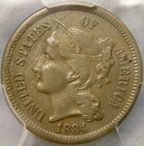 1884 THREE CENT NICKEL APPEALING RARE ONLY 1,700 BUSINESS STRIKES PCGS XF 45 DET