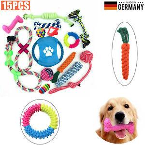 15 Stk Hunde Spielzeug Set Kauspielzeug aus Seil Interaktives Pet Dog Welpen Toy