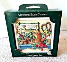 "Vintage ~ NIB ~ NEW ~ GARDENING Set of 4 Square Stone Absorbent Coasters 4"" x 4"""