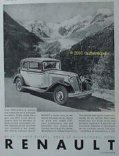 PUBLICITE RENAULT VOITURE NERVASTELLA 8 CYLINDRES MONTAGNE DE 1931 FRENCH AD PUB