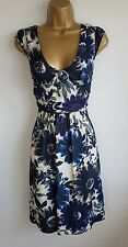Mango Blue Green Floral Smart Party Evening Occasion Flared Dress Size 10 ( M )