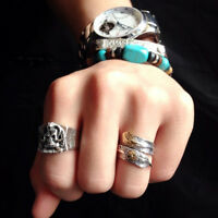 HK- Couple Native Pawn Indian Jewelry Navajo Signed Feather Open Band Ring Exqui