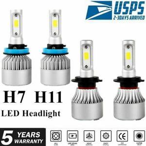 4PCS H7+H11/H9/H8 LED Headlight Bulbs Kit Car High Low Beam  COB 6500K White