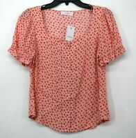 Elodie Pink Floral Woven Ruffled Short Sleeves Square Neck Button Front Top NWT