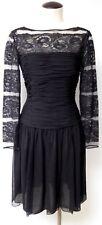 OSCAR DE LA RENTA VNTG BLACK SILK LACE FORMAL COCKTAIL DRESS BUSTIER KNEE LENGTH