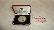 Isla De Man 1975 Manx Cat prueba corona de plata moneda Entubado Con cert. de autenticidad