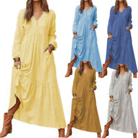Womens Casual Colorful Cotton Linen Long-Sleeve Dress Large Swing Loose Dress