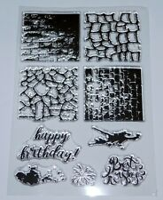 4 Different Pattern Texture Stamps - Happy Birthday and Ink Splats - FREE P & P